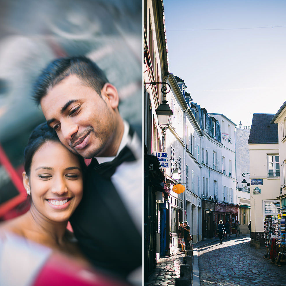 photo couple day after wedding à Montmartre, photographe day after mariage Paris