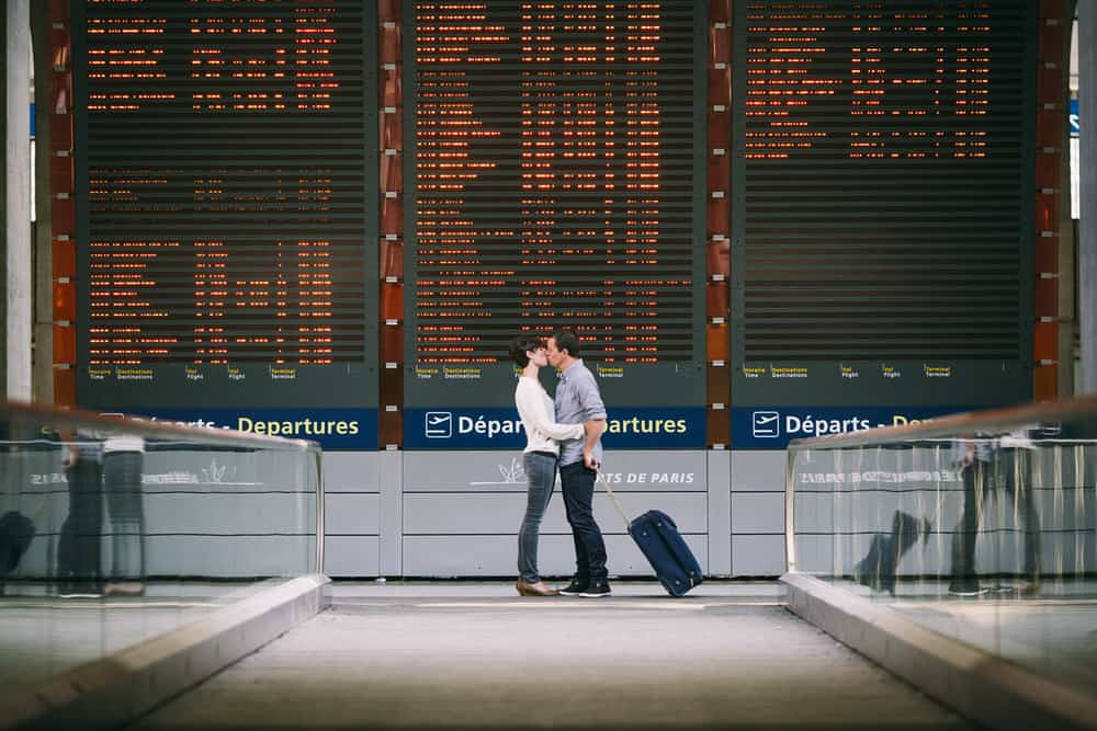 idée séance photo couple aeroport